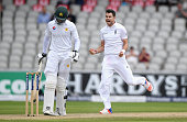 England bowler James Anderson celebrates after dismissing Pakistan batsman Shan Masood during day three of the 2nd Investec Test match between...