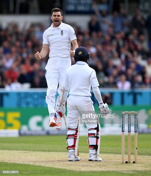 England bowler James Anderson celebrates after dismissing Sri Lanka batsman Kaushal Silva for 0 during day two of the 1st Investec Test match between...