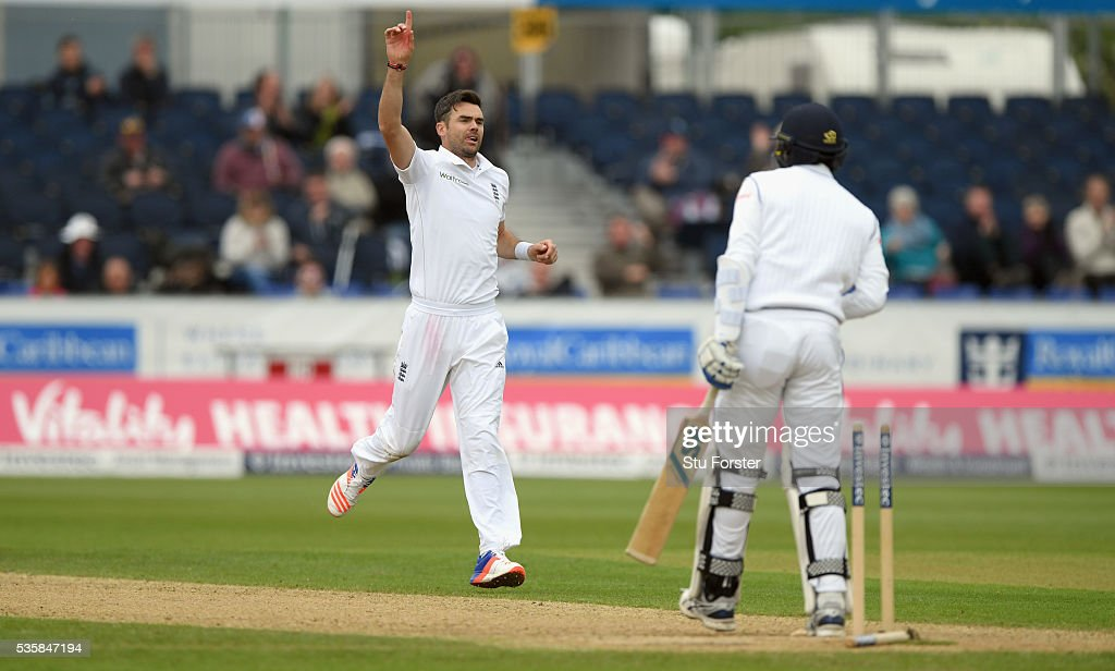 England bowler <a gi-track='captionPersonalityLinkClicked' href=/galleries/search?phrase=James+Anderson+-+Cricketspeler&family=editorial&specificpeople=6920305 ng-click='$event.stopPropagation()'>James Anderson</a> celebrates after dismissing Sri Lanka batsman Shaminda Eranga during day four of the 2nd Investec Test match between England and Sri Lanka at Emirates Durham ICG on May 30, 2016 in Chester-le-Street, United Kingdom.