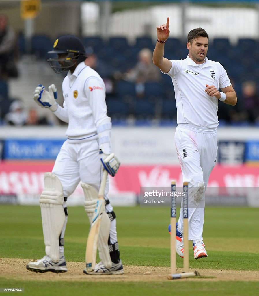 England bowler <a gi-track='captionPersonalityLinkClicked' href=/galleries/search?phrase=James+Anderson+-+Cricketspelare&family=editorial&specificpeople=6920305 ng-click='$event.stopPropagation()'>James Anderson</a> celebrates after dismissing Sri Lanka batsman Shaminda Eranga during day four of the 2nd Investec Test match between England and Sri Lanka at Emirates Durham ICG on May 30, 2016 in Chester-le-Street, United Kingdom.