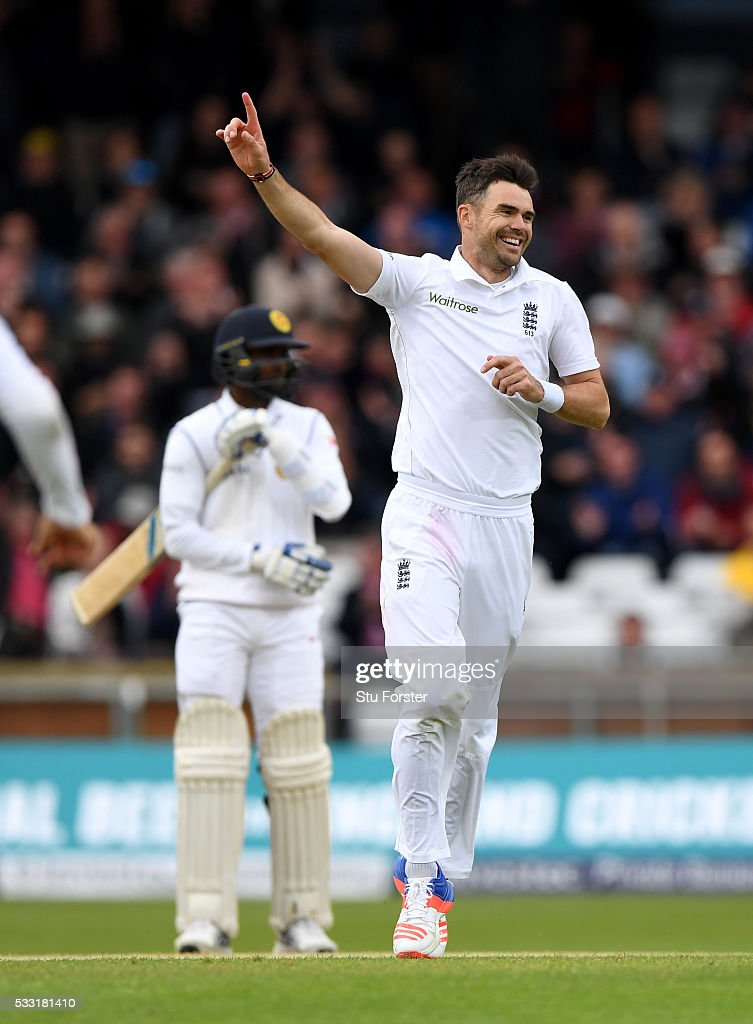 England bowler <a gi-track='captionPersonalityLinkClicked' href=/galleries/search?phrase=James+Anderson+-+Cricket+Player&family=editorial&specificpeople=6920305 ng-click='$event.stopPropagation()'>James Anderson</a> celebrates after taking his 10th wicket and the final wicket of the match by bowling Sri Lanka batsman Nuwan Pradeep (not pictured) during day three of the 1st Investec Test match between England and Sri Lanka at Headingley on May 21, 2016 in Leeds, United Kingdom.