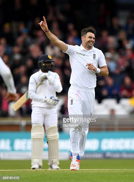 England bowler James Anderson celebrates after taking his 10th wicket and the final wicket of the match by bowling Sri Lanka batsman Nuwan Pradeep...
