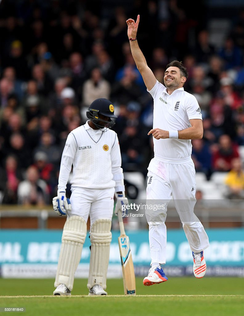 England bowler James Anderson celebrates after taking his 10th wicket and the final wicket of the match by bowling Sri Lanka batsman Nuwan Pradeep (not pictured) during day three of the 1st Investec Test match between England and Sri Lanka at Headingley on May 21, 2016 in Leeds, United Kingdom.
