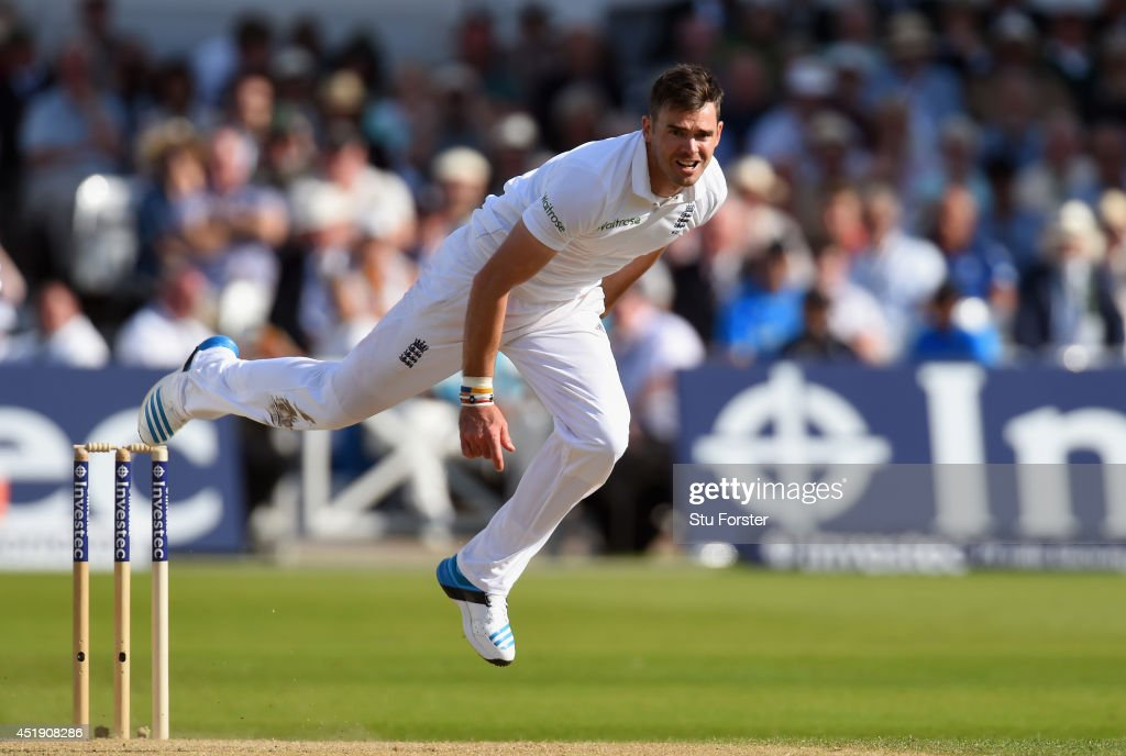 England bowler <a gi-track='captionPersonalityLinkClicked' href=/galleries/search?phrase=James+Anderson+-+Cricket+Player&family=editorial&specificpeople=6920305 ng-click='$event.stopPropagation()'>James Anderson</a> in action during day one of the 1st Investec Test Match between England and India at Trent Bridge on July 9, 2014 in Nottingham, England.