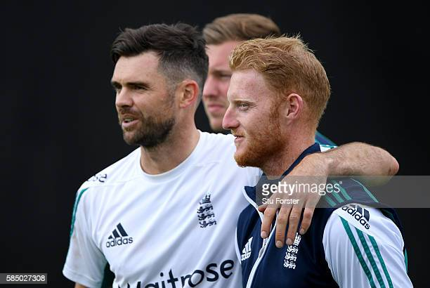 England bowler James Anderson shares a joke with Ben Stokes during England nets at Edgbaston on August 1 2016 in Birmingham England