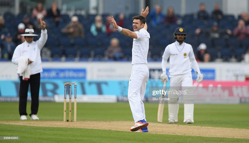 England bowler <a gi-track='captionPersonalityLinkClicked' href=/galleries/search?phrase=James+Anderson+-+Cricketspeler&family=editorial&specificpeople=6920305 ng-click='$event.stopPropagation()'>James Anderson</a> takes the wicket of Sri Lanka batsman <a gi-track='captionPersonalityLinkClicked' href=/galleries/search?phrase=Rangana+Herath&family=editorial&specificpeople=2303669 ng-click='$event.stopPropagation()'>Rangana Herath</a> (not pictured) for his 450th test wicket during day four of the 2nd Investec Test match between England and Sri Lanka at Emirates Durham ICG on May 30, 2016 in Chester-le-Street, United Kingdom.