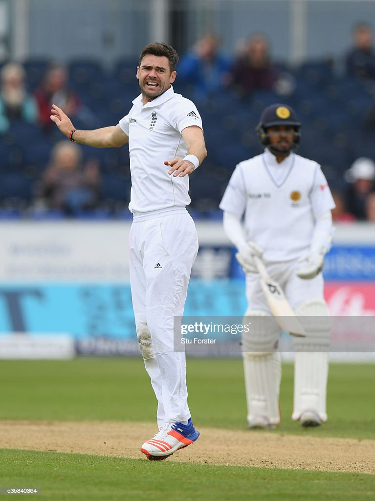 England bowler <a gi-track='captionPersonalityLinkClicked' href=/galleries/search?phrase=James+Anderson+-+Cricketspeler&family=editorial&specificpeople=6920305 ng-click='$event.stopPropagation()'>James Anderson</a> takes the wicket of Sri Lanka batsman Rangana Herath (not pictured) for his 450th test wicket during day four of the 2nd Investec Test match between England and Sri Lanka at Emirates Durham ICG on May 30, 2016 in Chester-le-Street, United Kingdom.