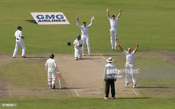 England bowler James Tredwell appeals with success for the wicket of Shakib Al Hasan during day one of the 2nd Test match between Bangladesh and...