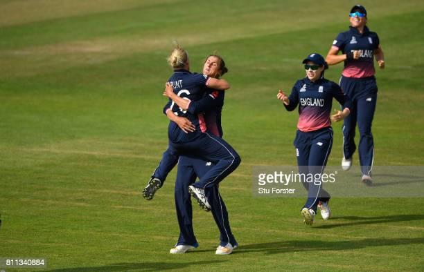 England bowler Jenny Gunn celebrates with Kathryn Brunt after Brunt had caught out Ashleigh Gardner during the ICC Women's World Cup 2017 match...