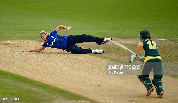 England bowler Katherine Brunt fails to stop a shot from Australia batsman Nicole Bolton during the 3rd Royal London ODI of the Women's Ashes Series...