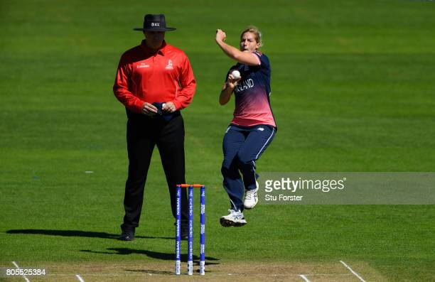 England bowler Katherine Brunt in action during the ICC Women's World Cup 2017 match between England and Sri Lanka at The Cooper Associates County...