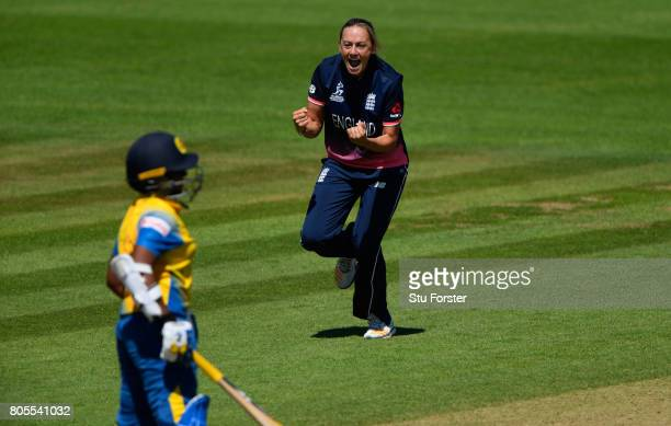 England bowler Laura Marsh celebartes after dismissing Sri Lanka batsman Hasina Perera during the ICC Women's World Cup 2017 match between England...