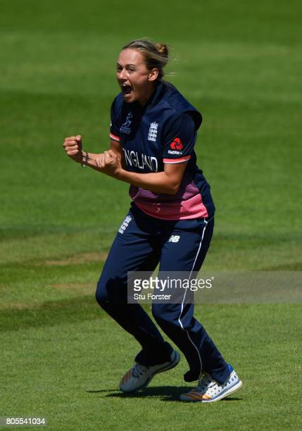 England bowler Laura Marsh celebartes after dismissing Sri Lanka batsman Hasina Perera during the ICC Women's World Cup 2017 match between England...