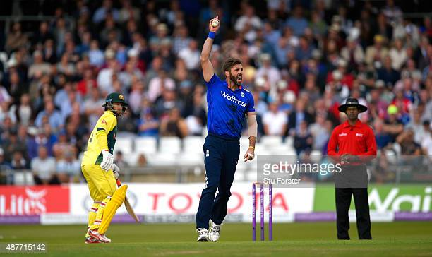 England bowler Liam Plunkett celebrates after catching out George Bailey during the 4th Royal London OneDay International match between England and...