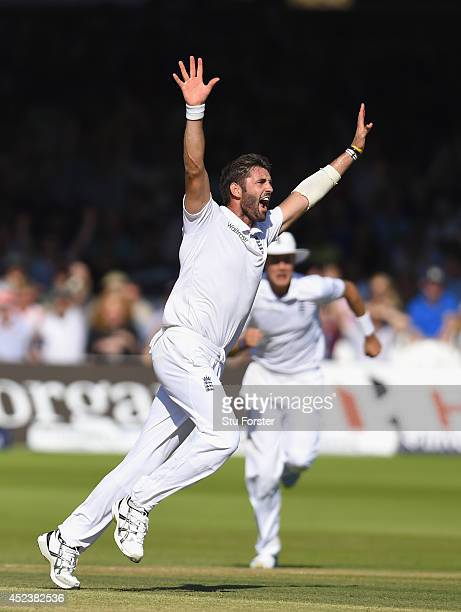 England bowler Liam Plunkett celebrates after dismissing India batsman Virat Kholi during day three of 2nd Investec Test match between England and...