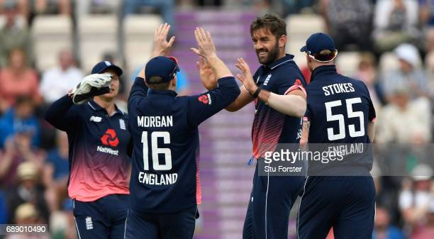 England bowler Liam Plunkett celebrates the wicket of AB de Villiers during the 2nd Royal London One Day International between England and South...