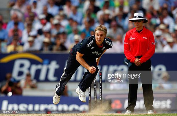 England bowler Luke Wright in action during the 4th NatWest ODI between England and Australia at The Brit Oval on June 30 2010 in London England
