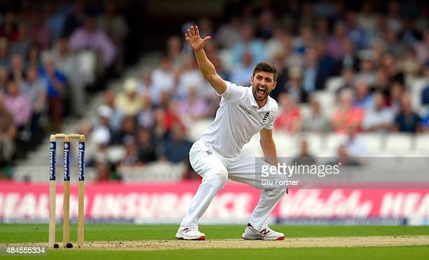 England bowler Mark Wood appeals for a wicket during day one of the 5th Investec Ashes Test match between England and Australia at The Kia Oval on...