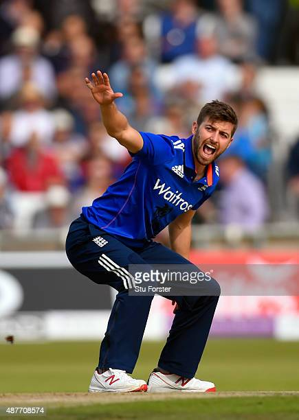 England bowler Mark Wood appeals for a wicket during the 4th Royal London OneDay International match between England and Australia at Headingley on...