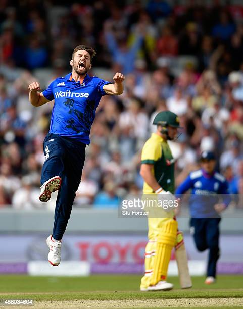 England bowler Mark Wood celebrates after dismissing Steven Smith during the 5th Royal London OneDay International match between England and...