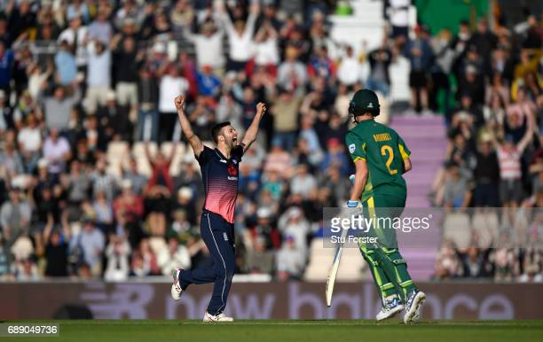 England bowler Mark Wood celebrates victory during the 2nd Royal London One Day International between England and South Africa at The Ageas Bowl on...