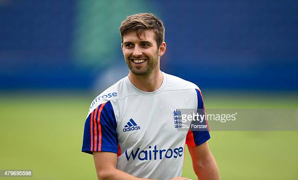 England bowler Mark Wood raises a smile during a nets session ahead of the 1st Investec Ashes Test match between England and Australia at SWALEC...