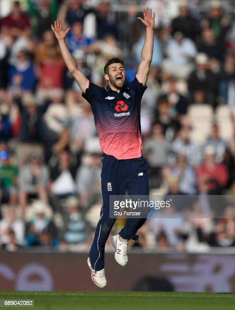 England bowler Mark Wood reacts during the 2nd Royal London One Day International between England and South Africa at The Ageas Bowl on May 27 2017...