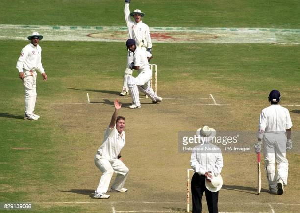 England bowler Martyn Ball appeals to the umpire for an lbw decision and dismisses Sanjay Bangar for 2 runs during the match against a Board...