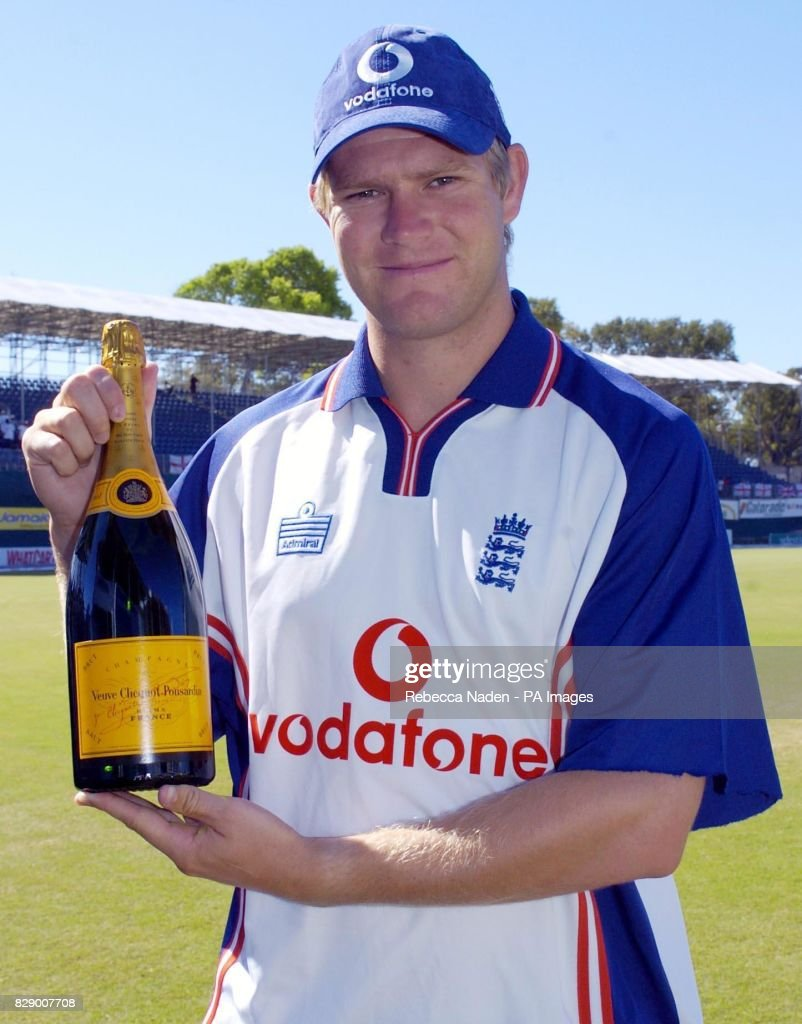 England bowler Matthew Hoggard with a magnum of champagne at the Recreation ground, St John's, Antigua. The magnum is awarded for the BBC Test Match Special Brian Johnston Champagne Moment which Hoggard won for his hat-trick in the 3rd Test against the West Indies.
