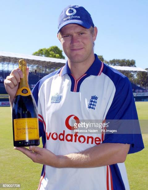 England bowler Matthew Hoggard with a magnum of champagne at the Recreation ground St John's Antigua The magnum is awarded for the BBC Test Match...