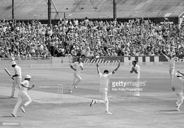 England bowler Mike Hendrick celebrates the wicket of West Indies captain Clive Lloyd for 2 runs during the 3rd Test match between England and West...
