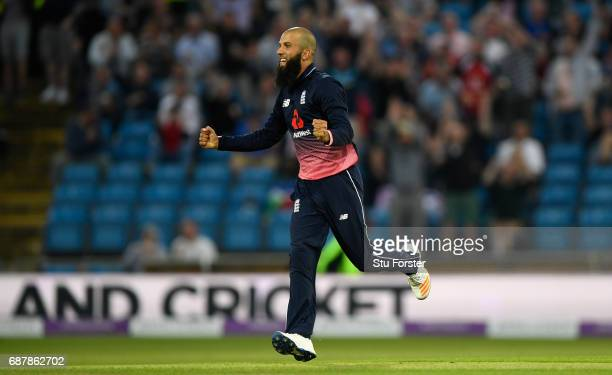 England bowler Moeen Ali celebrates after dismissing South Africa batsman AB de Villiers during the 1st Royal London One Day International match...