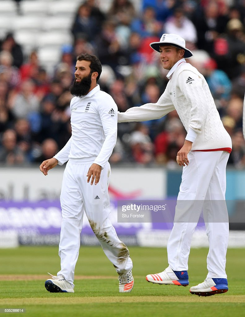 England bowler <a gi-track='captionPersonalityLinkClicked' href=/galleries/search?phrase=Moeen+Ali&family=editorial&specificpeople=571813 ng-click='$event.stopPropagation()'>Moeen Ali</a> is congratulated by Stuart Broad after bowling Sri Lanka batsman Lahiru Thirimanne during day three of the 2nd Investec Test match between England and Sri Lanka at Emirates Durham ICG on May 29, 2016 in Chester-le-Street, United Kingdom.