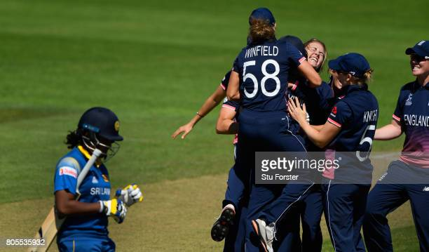 England bowler Natalie Sciver celebrates after dismissing Sri Lanka batsman Chamari Athapaththu during the ICC Women's World Cup 2017 match between...