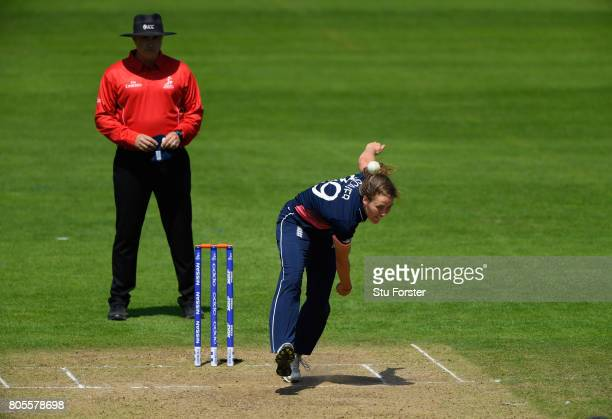 England bowler Natalie Sciver in action during the ICC Women's World Cup 2017 match between England and Sri Lanka at The Cooper Associates County...