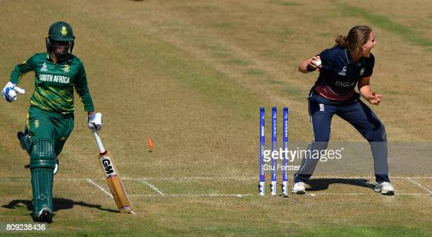 England bowler Natalie Sciver runs out South Africa batsman Trisha Chetty during the ICC Women's World Cup 2017 match between England and South...