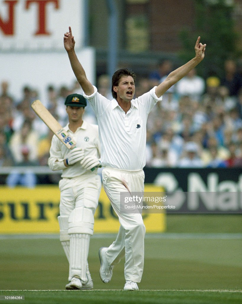 England bowler Neil Foster appeals unsuccessfully for LBW against Australian batsman Steve Waugh on the second day of the 1st Test match between England and Australia at Headingley in Leeds, 9th June 1989. Steve Waugh made 177 not out in Australia's first innings total of 601. Australia won by 210 runs.