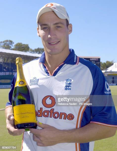 England bowler Simon Jones with a magnum of champagne at the Recreation ground St John's Antigua The magnum is awarded for the BBC Test Match Special...