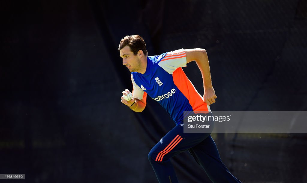England bowler <a gi-track='captionPersonalityLinkClicked' href=/galleries/search?phrase=Steven+Finn+-+Cricketer&family=editorial&specificpeople=7843917 ng-click='$event.stopPropagation()'>Steven Finn</a> in action during England nets ahead of the first Royal London One day series match against New Zealand at Edgbaston on June 8, 2015 in Birmingham, England.