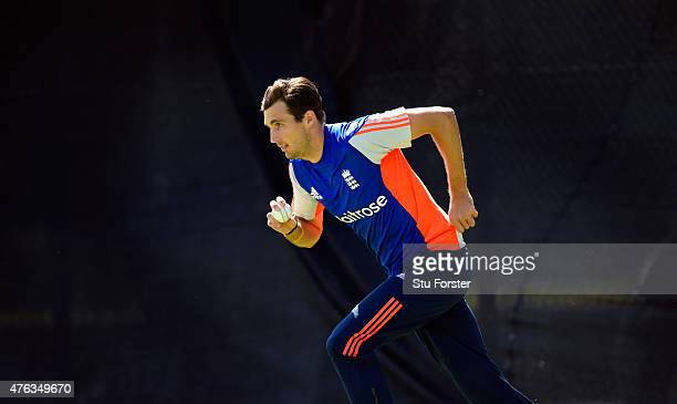 England bowler Steven Finn in action during England nets ahead of the first Royal London One day series match against New Zealand at Edgbaston on...