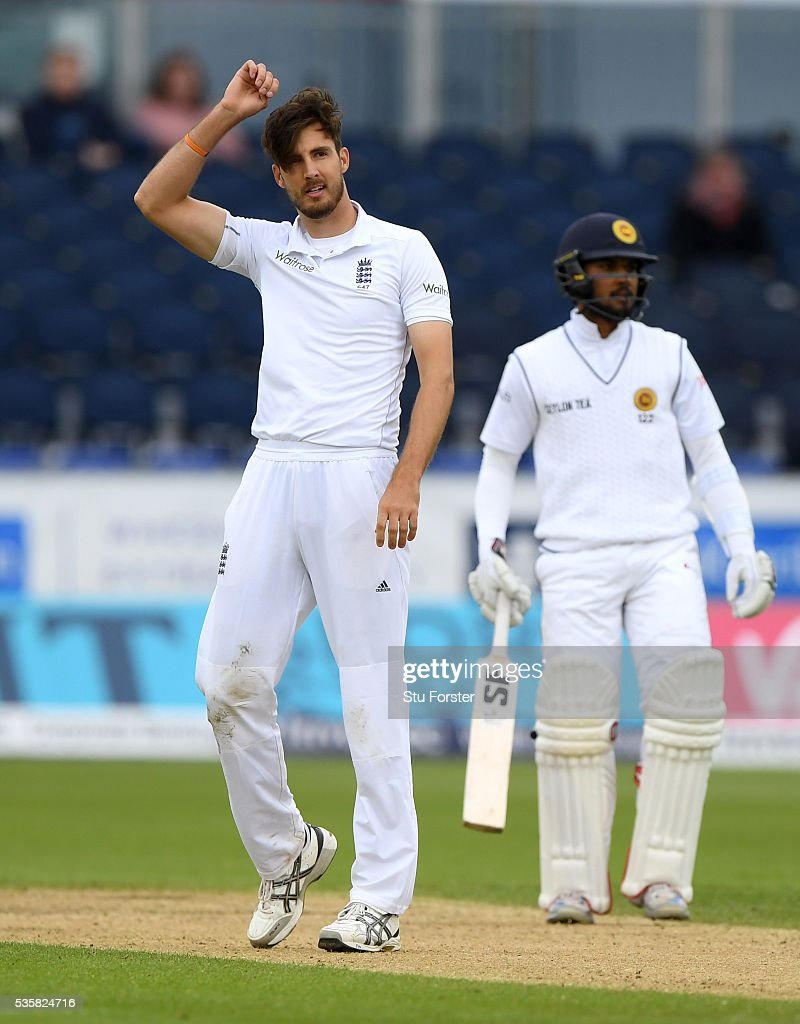 England bowler Steven Finn reacts during day four of the 2nd Investec Test match between England and Sri Lanka at Emirates Durham ICG on May 30, 2016 in Chester-le-Street, United Kingdom.
