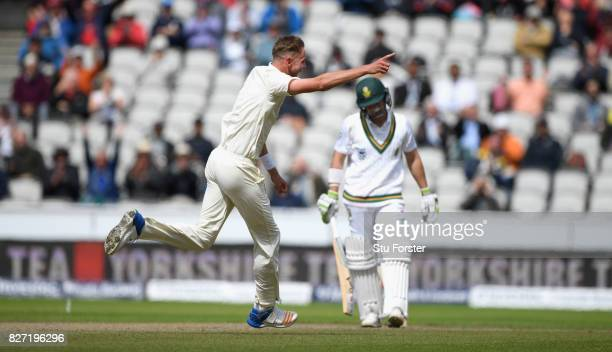 England bowler Stuart Broad celebrates after dismissing Dean Elgar during day four of the 4th Investec Test match between England and South Africa at...