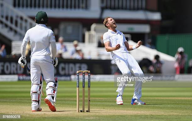 England bowler Stuart Broad celebrates after dismissing Pakistan batsman Mohammad Hafeez during day three of the 1st Investec Test match between...