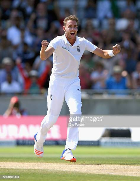 England bowler Stuart Broad celebrates after taking the wicket of Mohammad Hafeez during day 5 of the 3rd Investec Test match between England and...