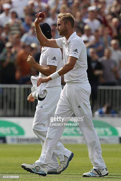 England bowler Stuart Broad celebrates as he leaves the field after taking the wicket of India batsman Pankaj Singh Broad's sixth wicket of the...
