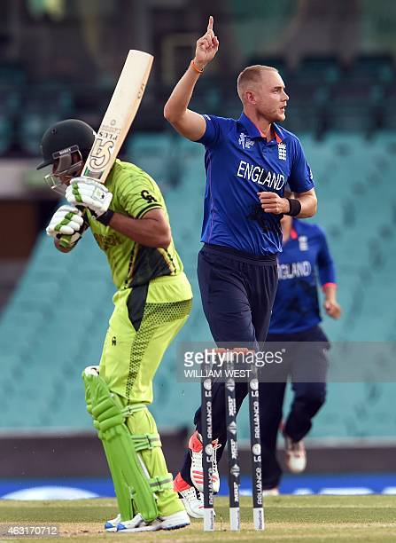 England bowler Stuart Broad celebrates dismissing Pakistan batsman Nasir Jamshed during their oneday international World Cup warmup cricket match at...