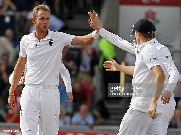 England bowler Stuart Broad celebrates with teammates after taking the wicket of India batsman Pankaj Singh Broad's sixth wicket of the Innings...