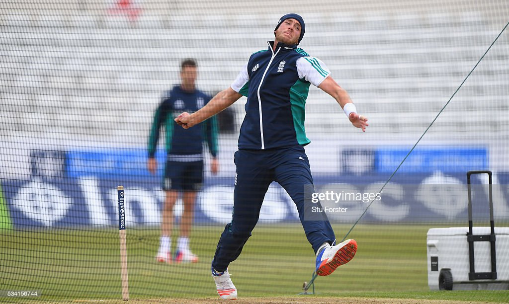 England bowler <a gi-track='captionPersonalityLinkClicked' href=/galleries/search?phrase=Stuart+Broad&family=editorial&specificpeople=574360 ng-click='$event.stopPropagation()'>Stuart Broad</a> in action during England Nets session ahead of the 2nd Investec Test match between England and Sri Lanka at Emirates Durham ICG on May 25, 2016 in Chester-le-Street, United Kingdom.