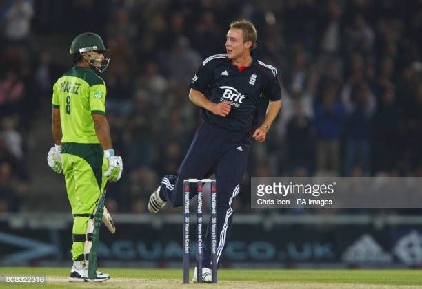 England bowler Stuart Broad makes a comment to Mohammad Hafeez after taking his wicket during the fifth one day international at The Rose Bowl...