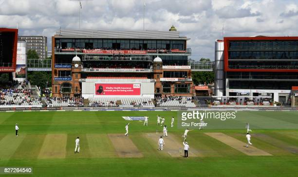 England bowler Stuart Broad takes the wicket of Dean Elgar during day four of the 4th Investec Test match between England and South Africa at Old...